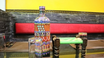 hand decorated/painted bottles